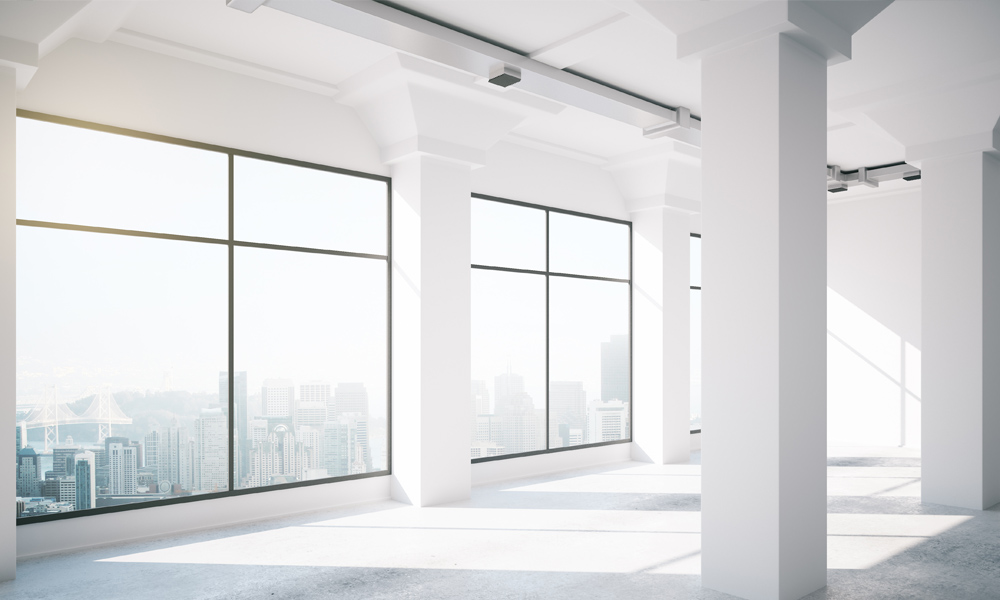 Empty white loft interior with big windows, 3d render